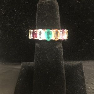 natural gemstone eternity band